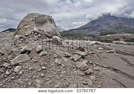 Volcanic Boulder and Mt. Merapi