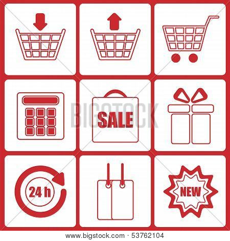 Shopping Icons.set Of Icons For Online Shop.vector