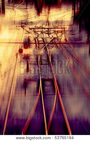 Railway track Junction with speed motion blur