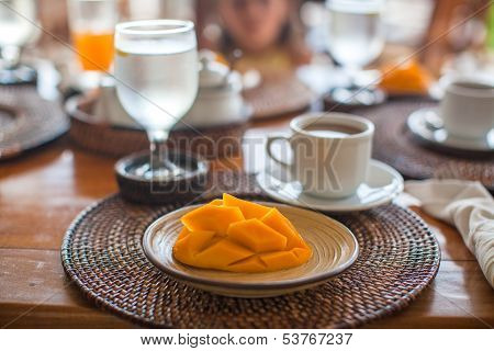 Philippino Breakfast With Mango And Coffee