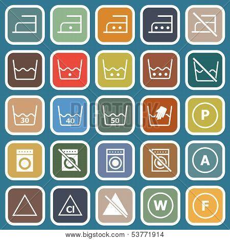 Laundry Flat Icons On Blue Background