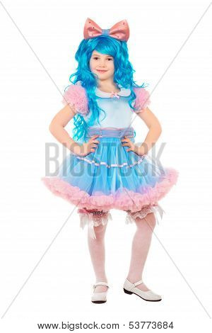 Positive little girl posing wearing luxury dress and blue wig. Isolated on white poster