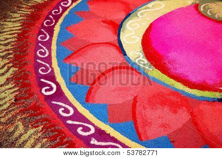 Indian Kolam With Flower Pattern