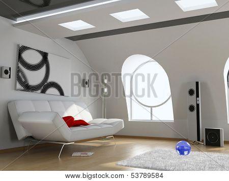 modern attic interior design (computer generated image 3D)