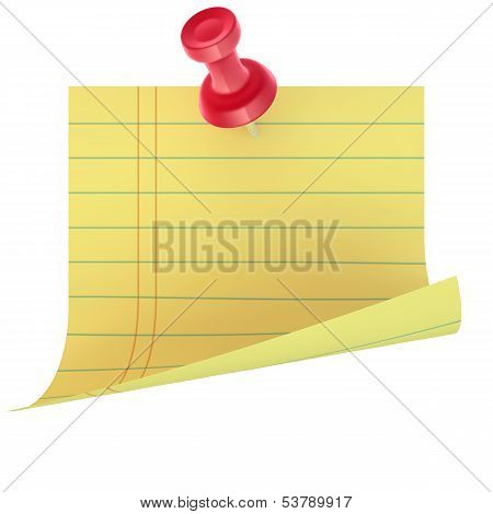 Yellow sticker with red pin