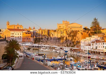 Ciutadella Menorca marina boats Port with town hall and cathedral in Balearic islands poster