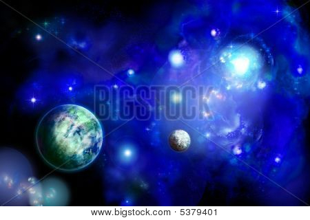 Space With Two Planets