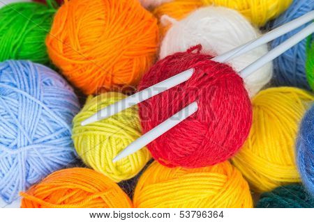 Balls Of Wool Yarn And Knitting Needles