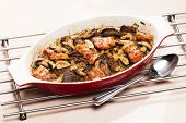 baked chicken livres with bacon and mushrooms on garlic poster