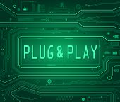 Abstract style illustration depicting printed circuit board components with a Plug and Play concept. poster