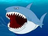Angry shark with open mouth. Underwater background. poster