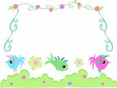 Here is a colorful frame of vines flowers fish hibiscus and green bushes. poster