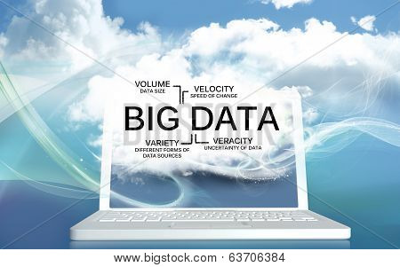 Big Data The V's On A Laptop With Clouds