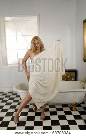 Blonde Woman In Bath Towel