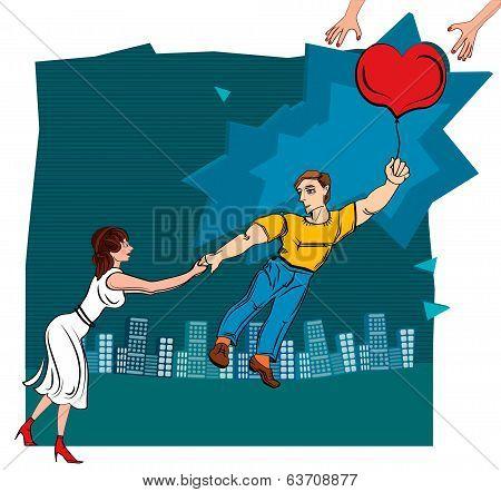 Man throws woman. Broken love.