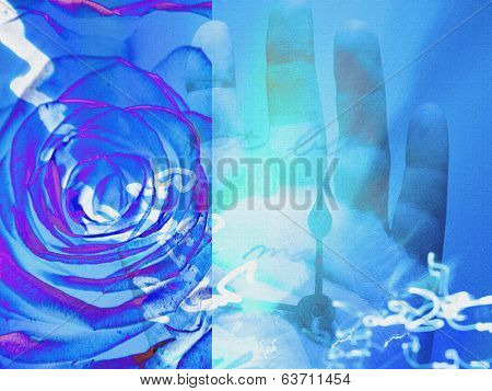 Hand with clock and flowers