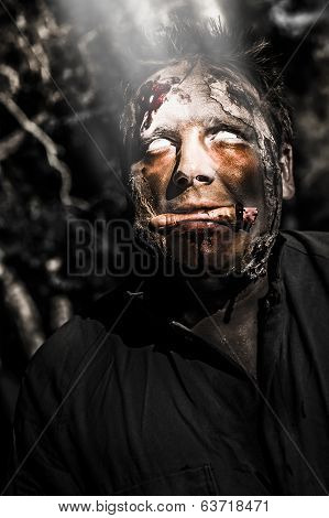 Horror Zombie With Finger Food. Bad Taste
