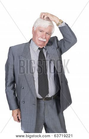 Old Man In Suit And Gray Hair Thinking