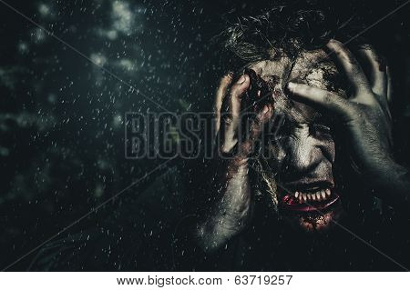 Evil Zombie Man In Fear At Dark Haunted Forest