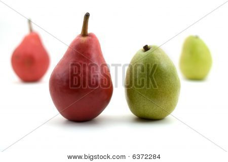 Pears - Starkrimson Red And Green Anjou Isolated On White Background