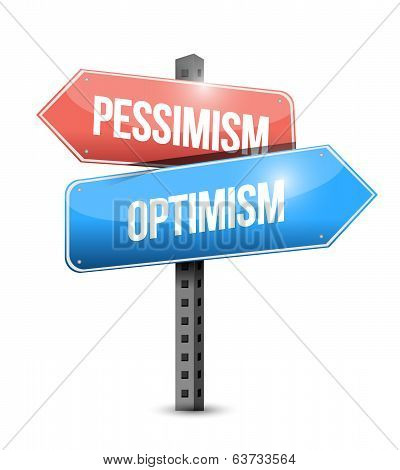 Pessimism And Optimism Road Sign Illustration