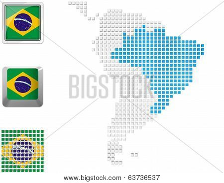 Brazil On Map Of South America