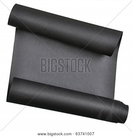 piece of black  paper rolled up in  roll isolated on white background