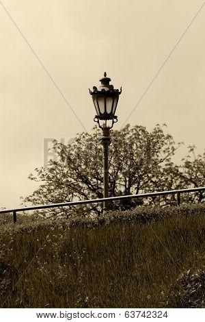 Old Street Lamp In Sepia.