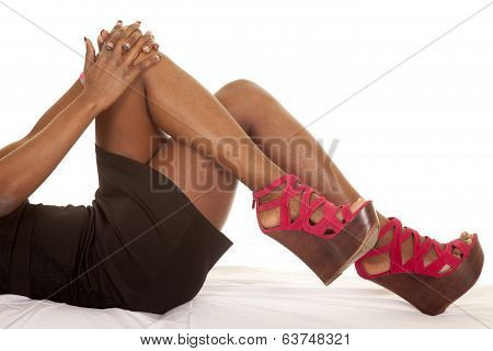African American Woman Legs Lay Hands