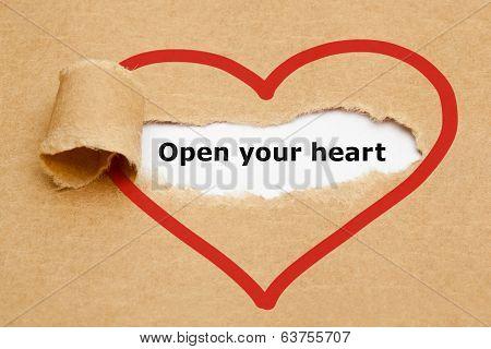 Open Your Heart Torn Paper