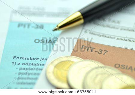 closeup of polish tax forms