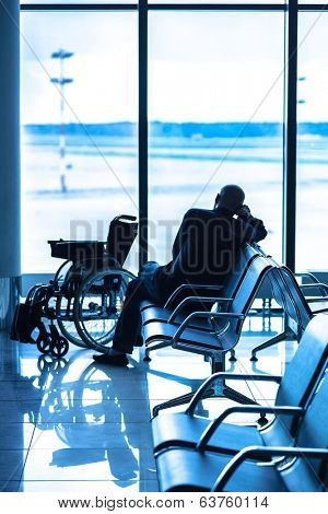 Disabled person in the interior of the airport