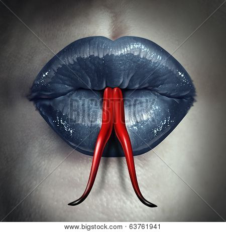 Temptation and human gossip concept as woman lips with a snake forked tongue as a metaphor for dirty talk or sexual issues. poster