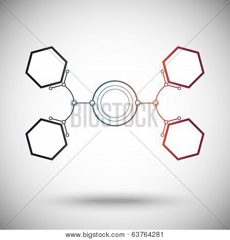 hexagonal cells are connected to the main round cell. gradient.vector graphics poster