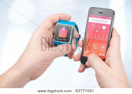 Data synchronization of health book between smartwatch and smartphone in male hands poster