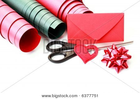 Gift wrapping materials on white background - holiday poster