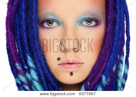 Girl With Blue Dreads