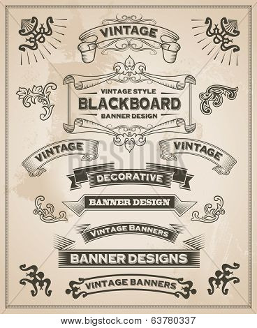 Vintage retro hand drawn banners - Vector illustration with texture added. Ribbon and banner design set for menus, greeting cards and festive occasions.