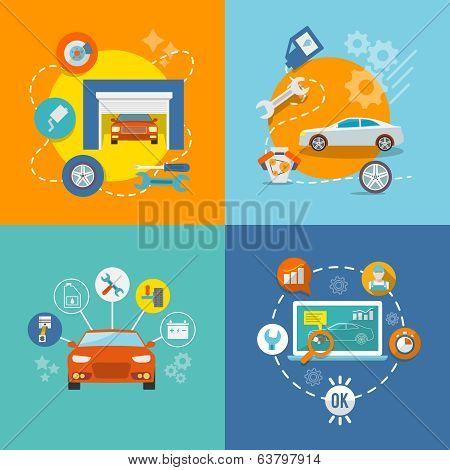 Auto service icon flat