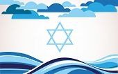 abstract israel flag as sea and blue sky . illustration poster