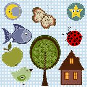 Set of nature textile stickers for kids poster