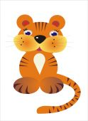 small fairy-tale tigress is expressed on illustrations from cartoon - a symbol of the new year poster