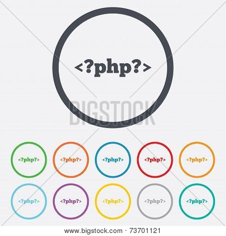 PHP sign icon. Programming language symbol. Round circle buttons with frame. Vector poster