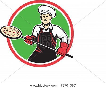 Pizza Maker Holding Peel Circle Retro