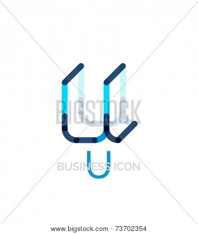 Minimal U font or letter logo design isolated on white poster