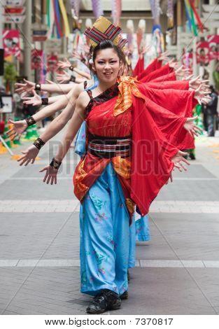 Japanese Daihanya Festival dancers