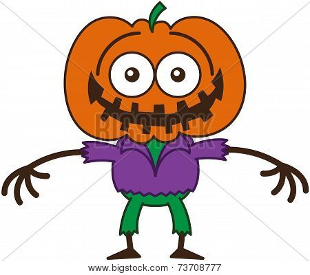 Funny Halloween scarecrow grinning while feeling embarrassed