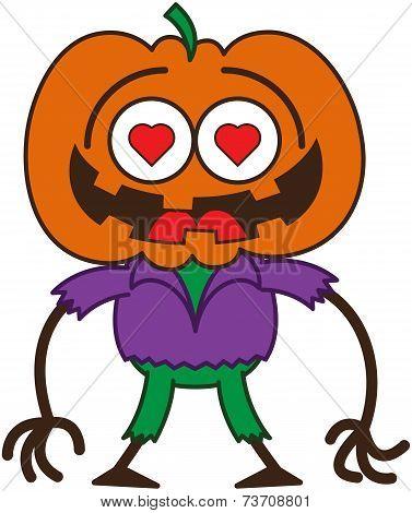 Cute Halloween scarecrow in love