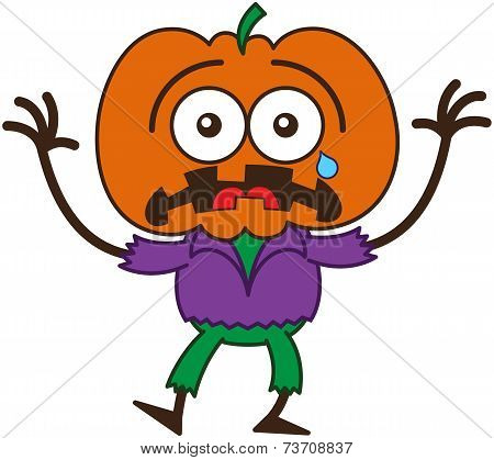 Cute Halloween scarecrow feeling scared