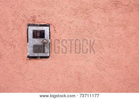 Intercom On Red Wall